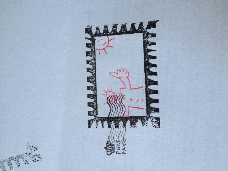 """Zelf een stempel gemaakt in de vorm van een postzegel! De binnenkant mogen ze zelf versieren De """"port paye"""" stempel is gekocht in de hema"""