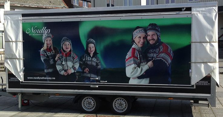 Sales booth trailer design for a norwegian knitted design clothes