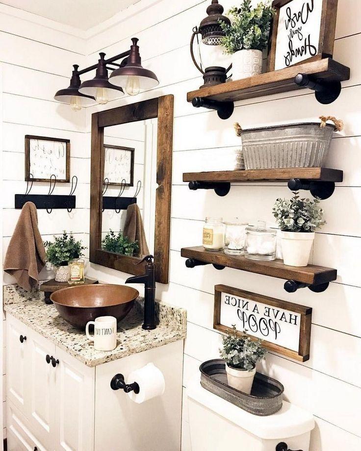 33 Interesting Farmhouse Decor Ideas For Bathroom Rustic Bathroom Decor Diy Bathroom Decor Farmhouse Bathroom Decor