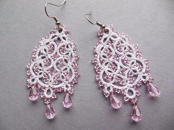 Bianco orecchini in Pizzo chiacchierino bianchi rosa