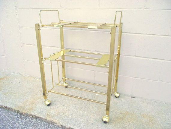 Gold Mid Century TV Holder Metal  Table Cart by OldMillVintage