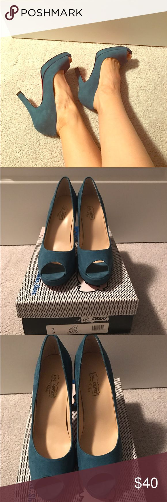 Oh deer! Red soles blue suede heels 7 Oh deer! Brand. Judy teal blue suede pumps with red soles. Excellent condition size 7. With box. Shoes Heels