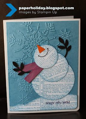 By Luci. Cute snowman from circle dies or punches and the branch from the Stampin' Up Bird Builder Punch. Background dry embossed in snowflakes folder.