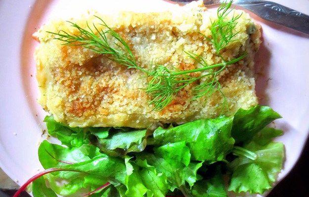 Рыбная запеканка с пюре из сельдерея