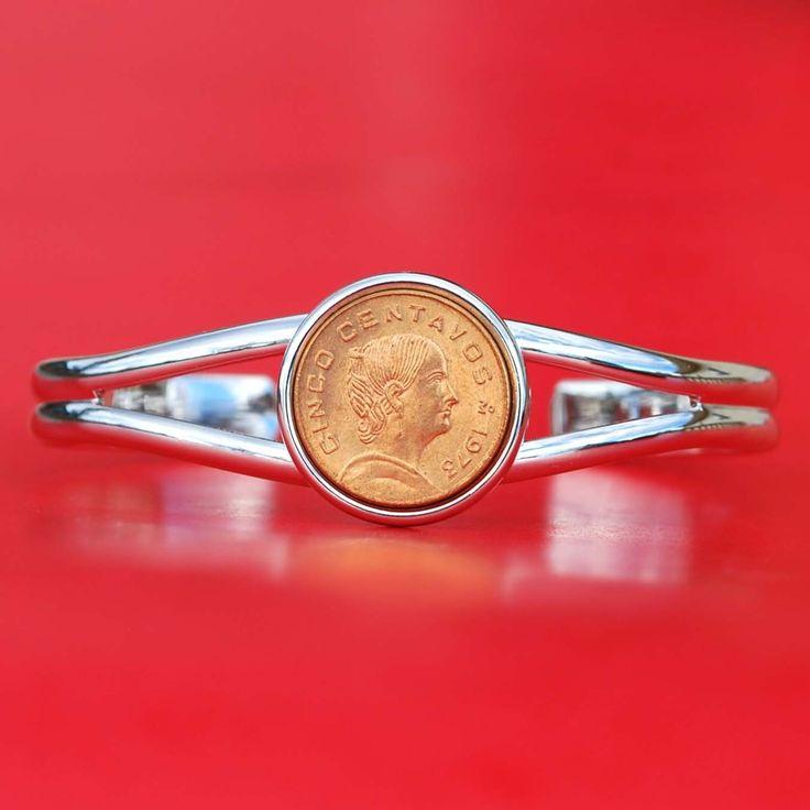 1975 Mexico 5 Centavos Bu Coin Cuff Bangle Bracelet - Josefa Ortiz De Domínguez