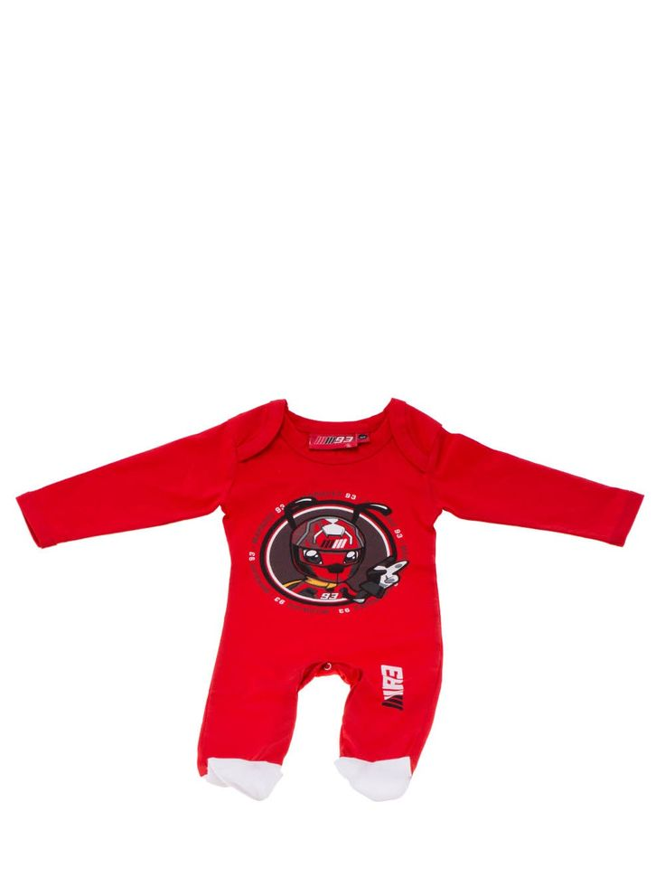 Baby romper suit from the Marc Marquez line. Red romper suit in 100% soft cotton, with a circular Ant featured at the centre. The Marc Marquez race number 93 is featured on the back.