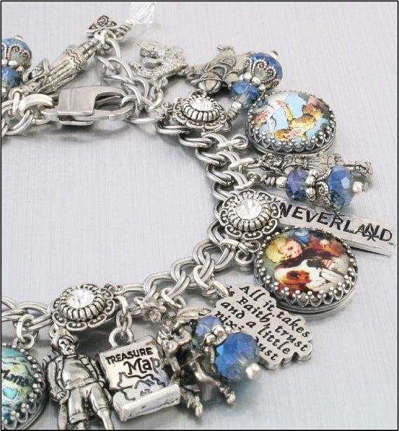 Fairy Charm Bracelet, Neverland Charm Bracelet, Silver Charm Bracelets, Peter Pan Charm Jewelry, Tinkerbell Charm Bracelet by BlackberryDesigns, $123.00