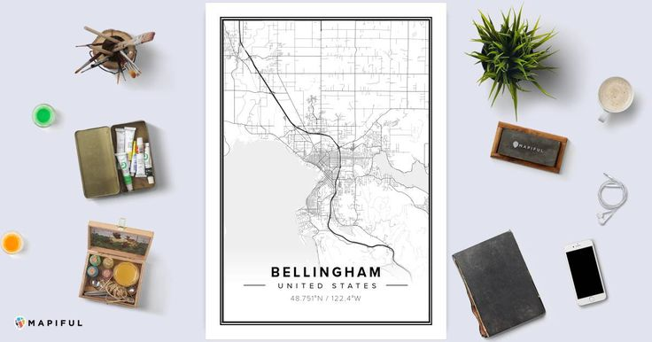 A beautiful poster made with Mapiful called 'Bellingham'. With Mapiful you can create, design and order a printed poster of your own customized map.