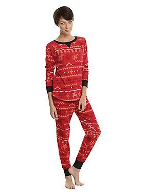 """<div>There's nothing more magical that winter at Hogwarts. There's also nothing colder. Bundle up! This red thermal set features a Fair Isle inspired design with wands, golden snitches, owls, and more!<br></div><div><ul><li style=""""list-style-position: inside !important; list-style-type: disc !important;"""">100% cotton</li><li style=""""list-style-position: inside !important; list-style-type: disc !important;"""">Wash cold; dry low</li><li style=""""list-style-position: inside !important; list-sty..."""