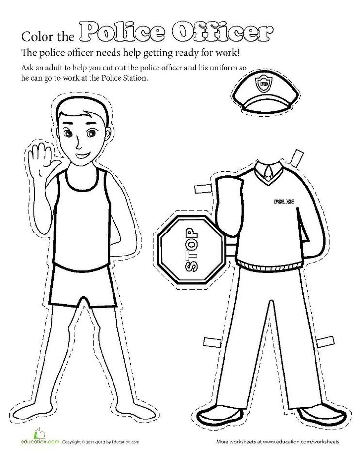 Links to a Police Officer Paper doll to color and cut.  J.H.