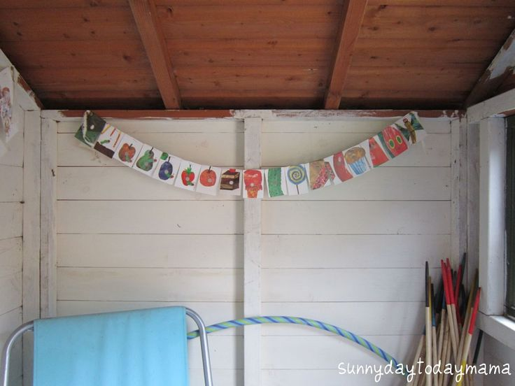 Bunting made from The Very Hungry Caterpillar book http://sunnydaytodaymama.blogspot.co.uk/2012/05/spring-projects-and-very-hungry.html