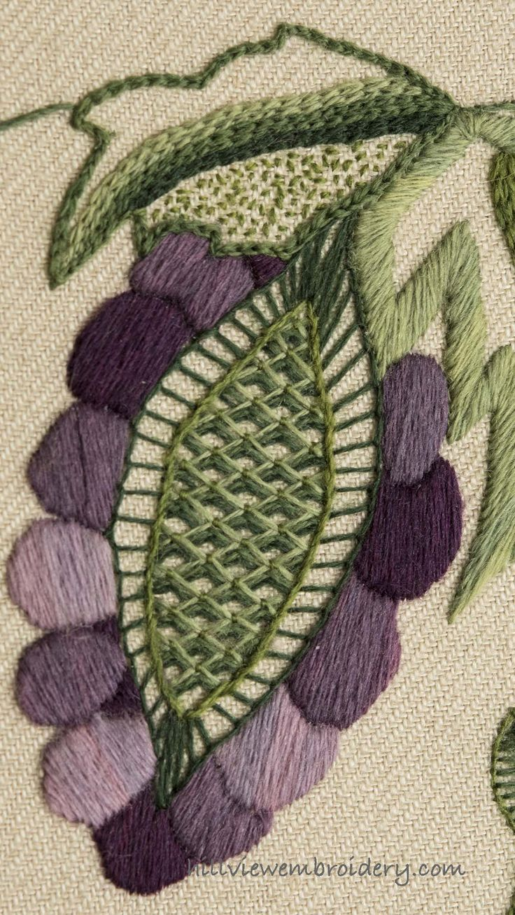 A New Crewelwork Piece A grape motif worked in traditional hand Embroidery stitches of padded satin stitch, buttonhole stitch, battlement couching, chain stitch seeing stitch and satin stitch. Learn more about this design and get the inside story by visiting Catherine at Hillview Embroidery #crewelwork #handembroidery