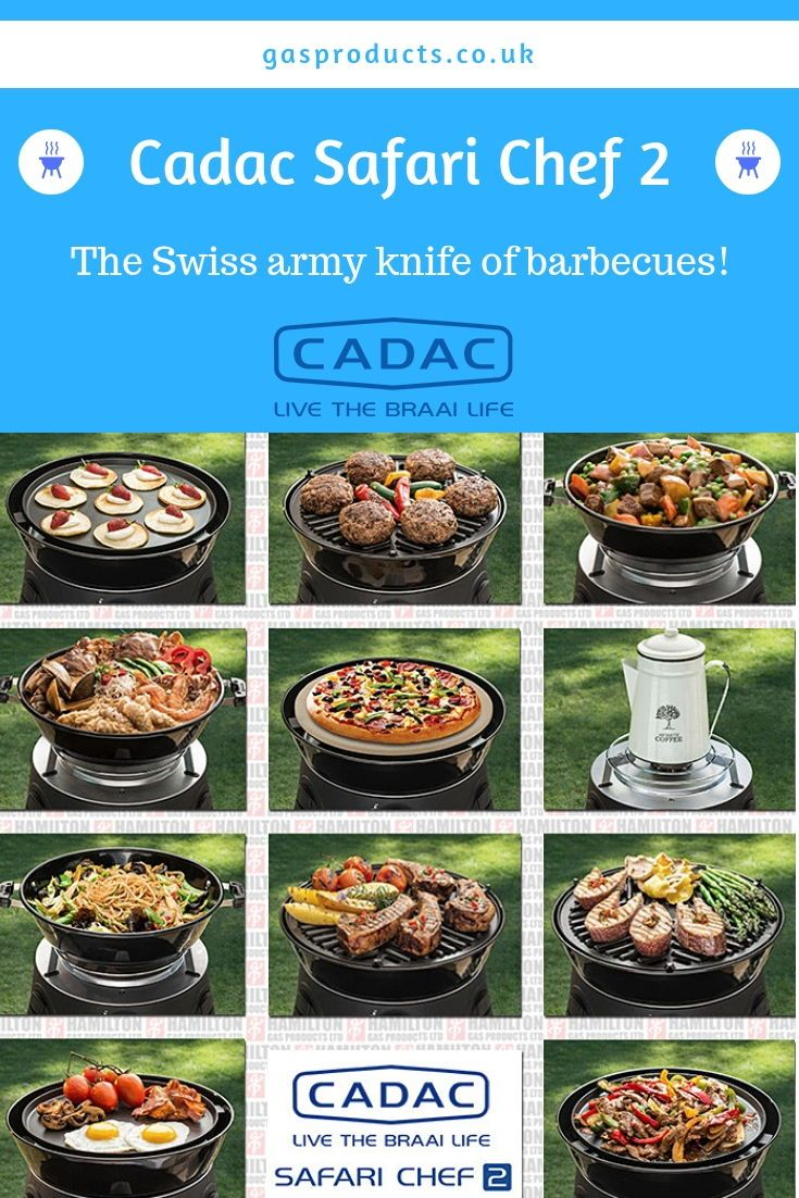 The Cadac Safari Chef 2 Is A Portable And Versatile Gas Bbq Weighing Less Than 4kg It Comes With 3 Or 4 Interchangeable Gas Bbq Cadac Bbq Alternative Cooking