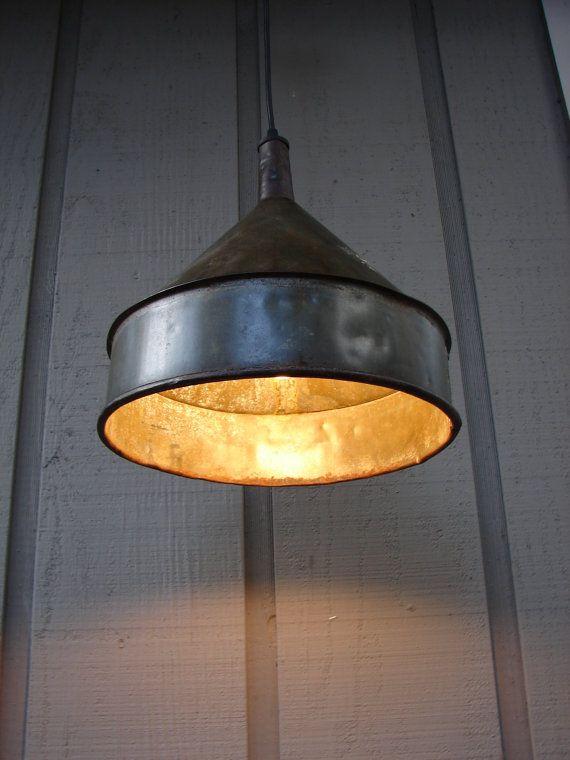 Vintage Farm funnel pendant light!  Want one!
