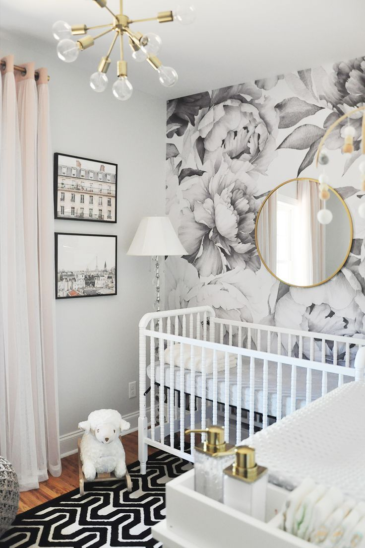 Spring 2017 One Room Challenge, Week 6: Nursery Reveal + Sources. Love the wallpaper and gold fixtures
