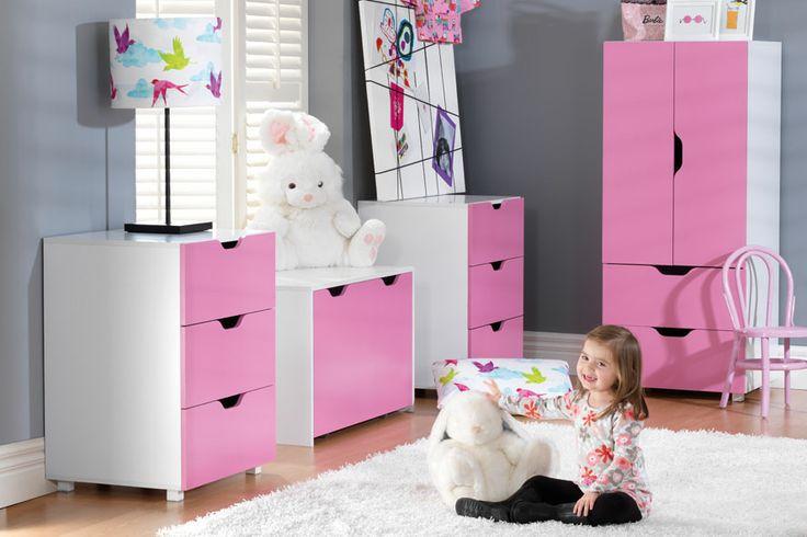 This bedroom is pretty in pink with Flatpax Kids furniture. #kidsfurniture #kidsdrawers #kidsdesk #kidswardrobe
