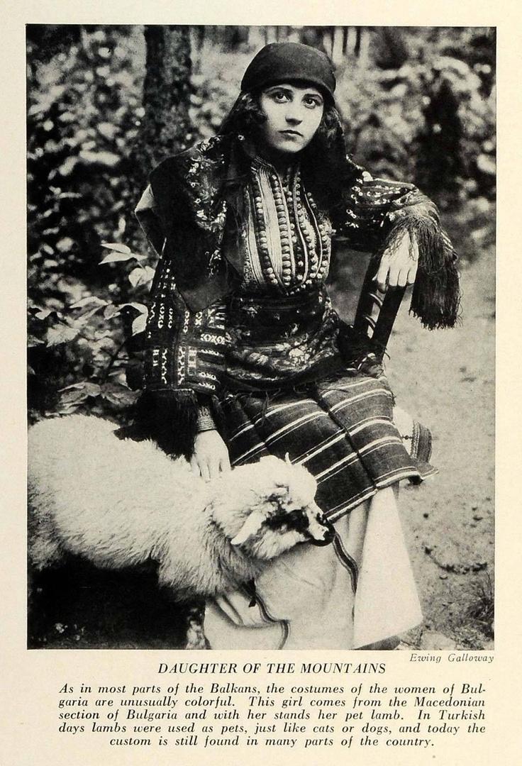 1934 Balkan Macedonia Native Woman Dress Typical Costume Pet Lamb