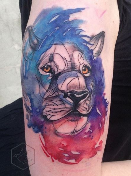Watercolor lion head tattoo
