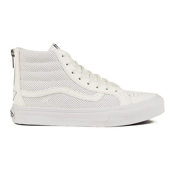 Vans Women's SK8-Hi Slim Zip Perforated Leather Hi-Top Trainers - True... ($100) ❤ liked on Polyvore featuring shoes, sneakers, white, vans high tops, vans shoes, white hi top sneakers, white flat shoes and skate shoes