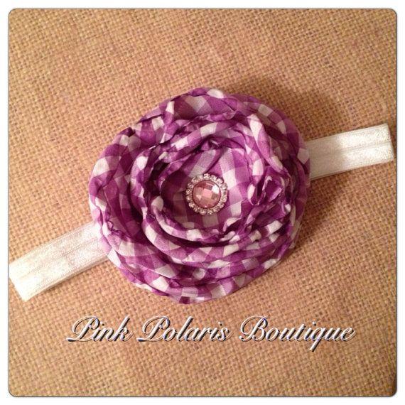 Purple Singed Gingham Flower Headband on Etsy, $9.50