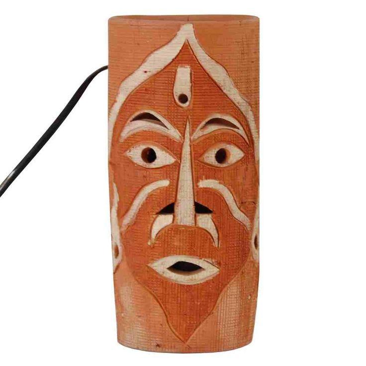 Terracotta Tribal Face Lamp