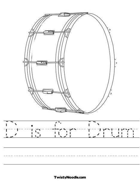 D is for drum worksheet preschool music classroom for Music coloring pages for kindergarten