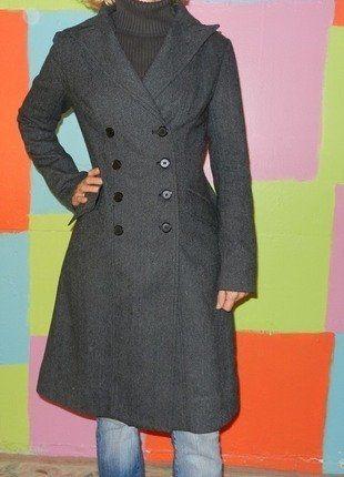 manteau long cabans trench gris fonc motif rayure t36 38 chic code automne hiver