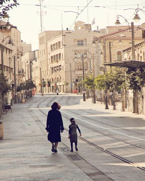 Saturday morning in Jerusalem - Jaffa street. Mother & Daughter.