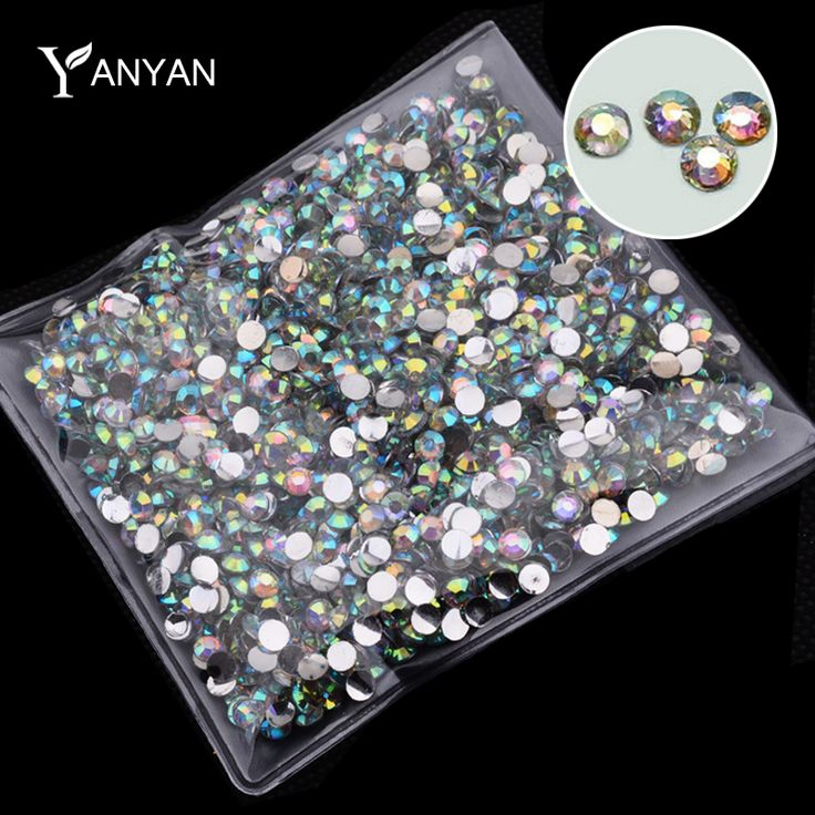 Hot 1000 pcs/pack Mode AB Berlian Imitasi Nail Art Alat Charm Glitter DIY 3d Acrylic Nail Tips Dekorasi
