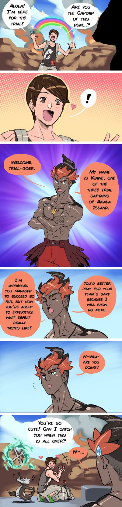 "Silly Kiawe comic on Tumblr; kind of one of those ""what if"" scenarios about questioning the trials and a gay MC"
