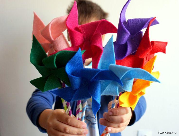 Swanocean: Felt pinwheels-Τσόχινοι ανεμόμυλοι