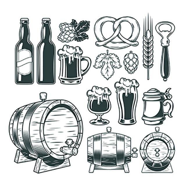 Collection Retro Icons Of Beer Isolated On White Beer Icon Mug Png And Vector With Transparent Background For Free Download Beer Icon Retro Vector Beer Vector