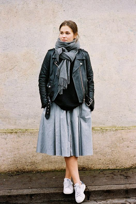 Mix different styles together, like a school-girl worthy skirt and a tough biker jacket // #StreetStyle #Fashion