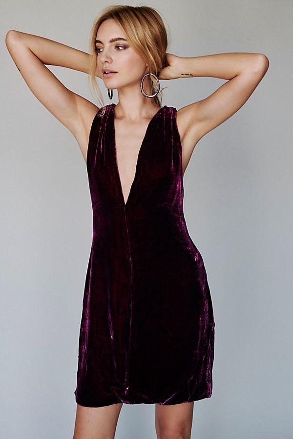 ac265dd25721 The Ennis Dress - Wine Colored Velvet Deep V-Neck Dress - Holiday Party  Dresses - Special Occasion Dresses
