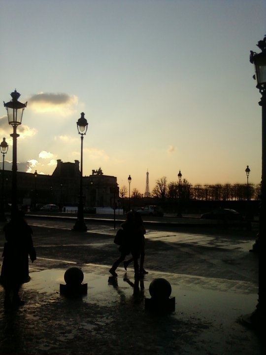Paris with ice and snow