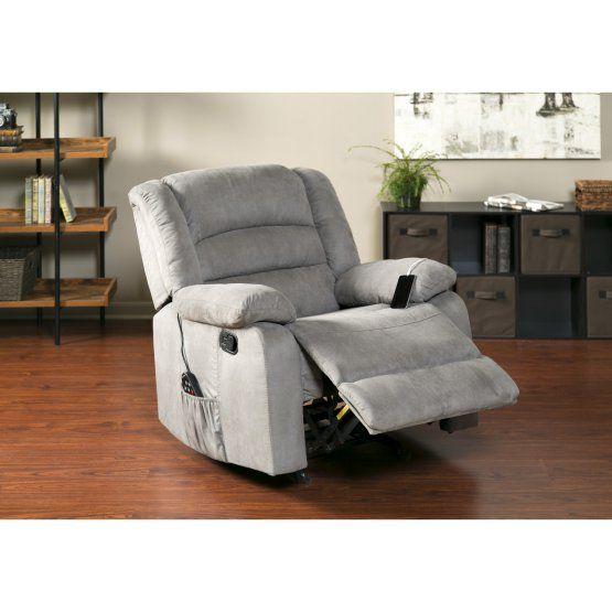 Relaxzen Massaging Rocker Recliner With Heat And Usb Rocker Recliners Recliner Recliner Chair