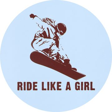 snowboarding and this sticker is perfect for all the girl boarders out there.