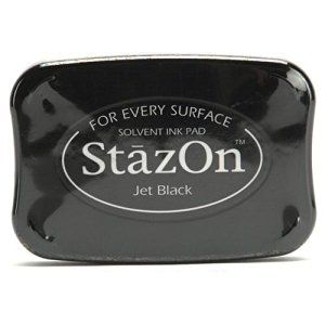 Amazon.com: Tsukineko Full-Size StazOn Multi-Surface Inkpad, Jet Black: solvent based and doesn't have the same bleed-through risk as some of the dye-based inks