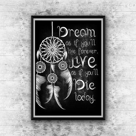 Dream catcher printable art Dreamcatcher quote by GalliniDesign