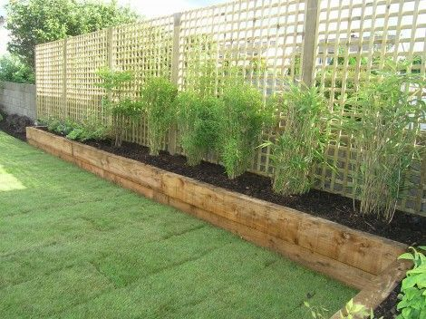 Privacy screen - Simple perimeter raised planters with Pine Sleepers.