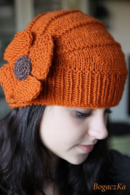 Rusty Poppy Hat   Wish I had the patience to knit hats, this is really cute!!!