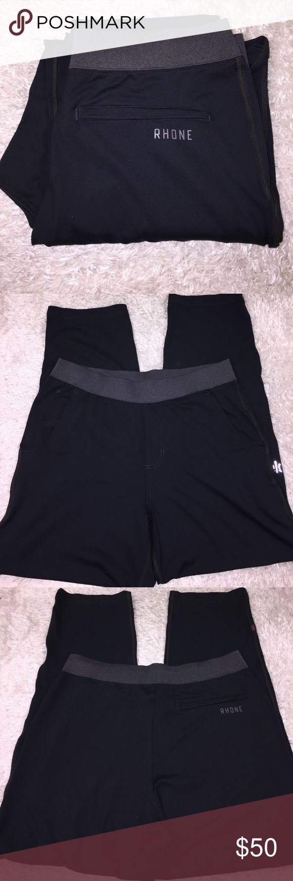 """Rhone Men's Pants Size XL. Like New! Color is black and grey. Inseam: 30 1/2"""". High quality athletic wear. Feel free to ask any questions! No trades sorry, & offers thru offer button only! 😊... Rhone Pants Sweatpants & Joggers"""