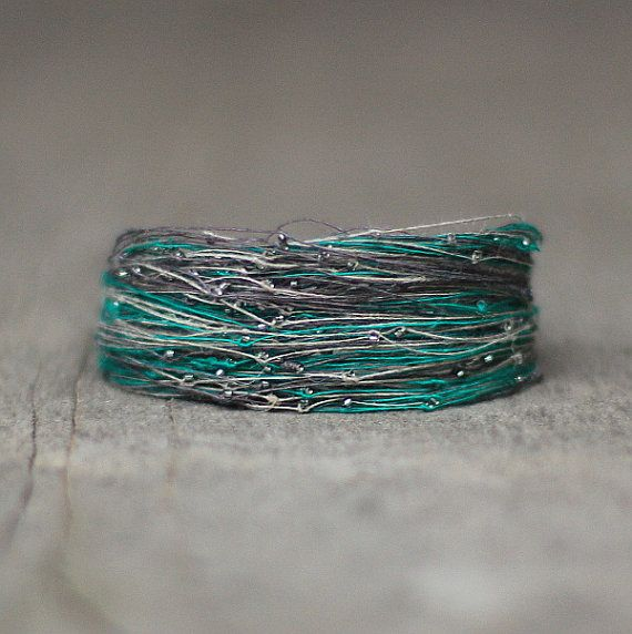 African Bracelet Green Gray Linen Bracelet Seed by Naryajewelry