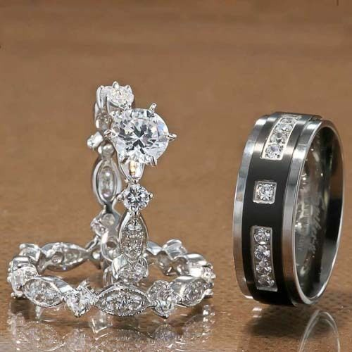 3Pcs His And Hers Titanium 925 Sterling Silver Wedding Bridal Matching Ring Set