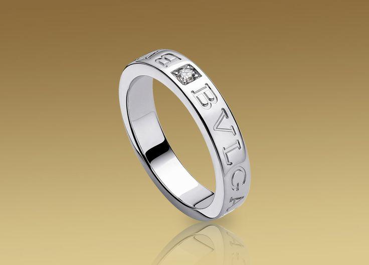 bvlgari bvlgari ring in 18 kt white gold with diamond