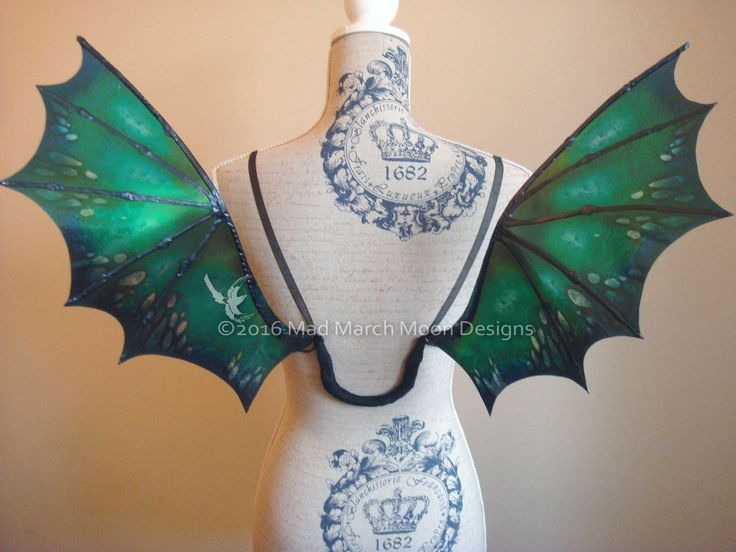 Wearable Dragon wings, Small size iridescent transparent dragon wings, Forest Greens by MadMarchMoon on Etsy