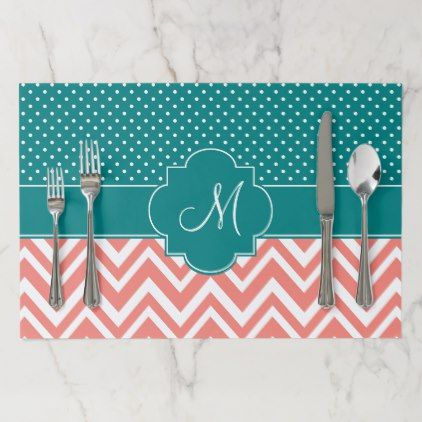 Monogram Coral Chevron with Teal Polka Dot Pattern Placemat - monogram gifts unique design style monogrammed diy cyo customize