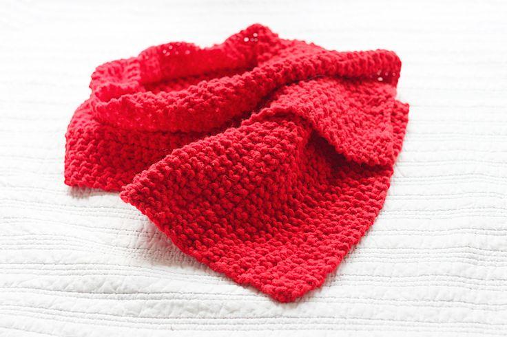 knitting red scarf soft chunky rice stitch