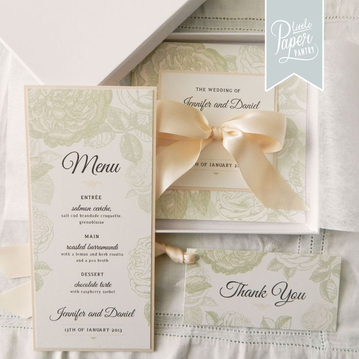 tie ribbon wedding invitation%0A Square floral peach and soft green invite with a satin bow on the front   Perfect