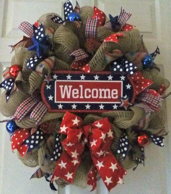 Patriotic Wreath RWB Wreath Memorial Day Deco by PJCreativeWreaths, $68.00